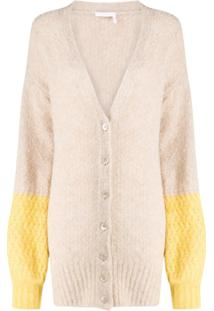 See By Chloé Cardigan Longo Color Block - Neutro