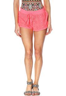 Shorts Areia Branca Crochet Coral