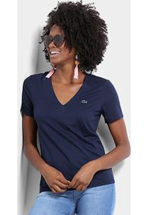 Camiseta Lacoste Gola V Feminina - Feminino-Marinho
