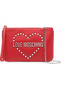 Love Moschino Clutch Com Logo De Tachas - Vermelho