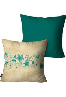 Kit Com 2 Capas Para Almofadas Pump Up Decorativas Enfeite Estrela Verde 45X45Cm - Verde - Dafiti