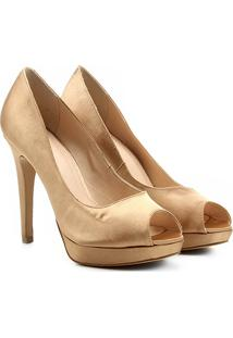 Peep Toe Shoestock Meia Pata Cetim - Feminino-Dourado