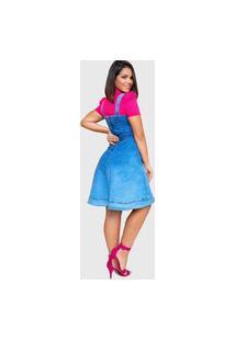 Vestido Jeans Feminino Urbania Azul De Alça Decote Quadrado Rodado Curto Plus Size Costa Urbania Moda Evangélica Modesta Cristã Com Ziper