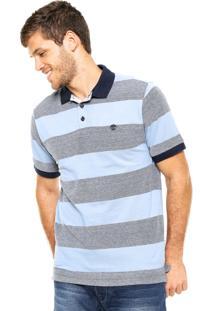 Camisa Polo Timberland Big Strip Azul/Cinza