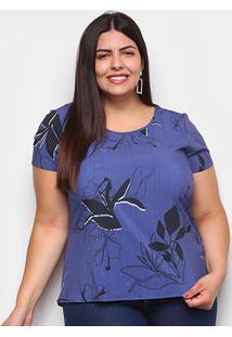 Blusa Cativa Plus Size Básica Floral Feminina - Feminino-Azul