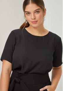 Amaro Feminino Camiseta Chiffon Essential, Preto