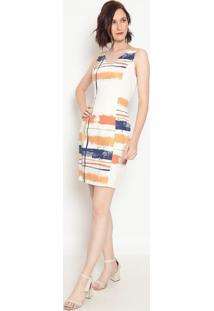 Vestido Abstrato - Off White & Azul Marinho- Moiselemoisele