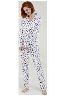 Pijama Feminino Estampado Manga Longa Disney