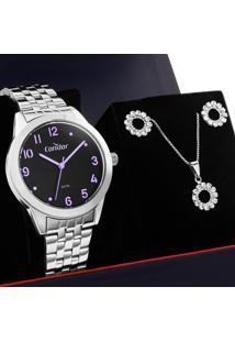 Kit Relógio Condor Feminino Com Colar E Brincos Co2036Kvt/K4C