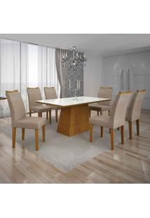 Conjunto De Mesa Com 6 Cadeiras Pampulha Ii Linho Imbuia Mel E Bege