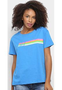 Camiseta Ellus 2Nd Floor Listras Neon Feminina - Feminino