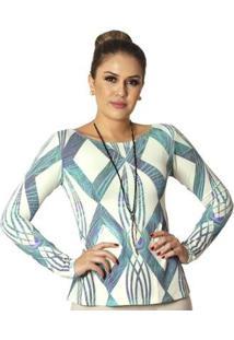 Blusa Ficalinda Com Proteção Solar Uv Estampa Geométrica Decote Can Feminina - Feminino-Azul