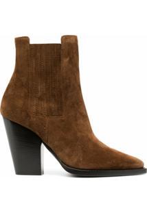 Saint Laurent Theo Chunky-Heel Ankle Boots - Marrom