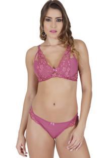 Conjunto Click Chique Strappy Bra Em Renda Luxo Rosa
