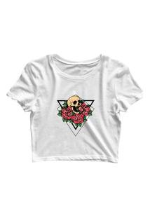 Blusa Blusinha Cropped Tshirt Camiseta Feminina Triângulo Caveira E Flores Branco