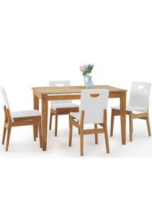 Conjunto De Mesa De Jantar Com 4 Cadeiras Tucupi 120Cm - Acabamento Nozes E Laca Branco