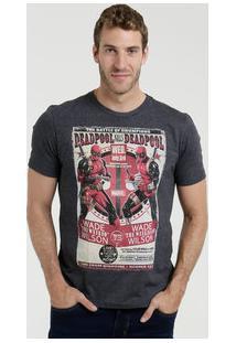 Camiseta Masculina Estampa Deadpool Marvel