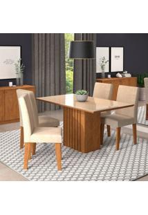 Conjunto De Mesa De Jantar Ana Com 4 Cadeiras Milena Suede Off White E Bege