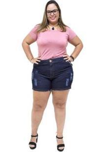Shorts Jeans Feminino Xtra Charmy Plus Size Elianne - Feminino-Azul