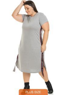 Vestido Midi Cadarço E Fenda Na Lateral Cinza