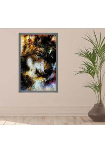 Quadro Love Decor Com Moldura Lobo E Arabescos Grafitti Metalizado Grande