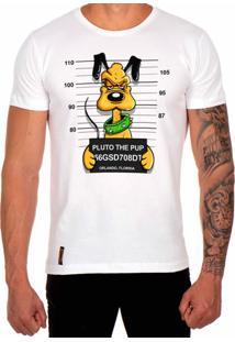Camiseta Lucas Lunny T Shirt Estampada Pluto Branco