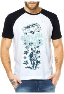 Camiseta Raglan Criativa Urbana Surfing Free - Masculino-Branco