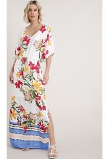 Vestido Feminino Longo Estampado Floral Com Fenda Manga Curta Branco