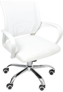 Cadeira Office Tok- Branca & Prateada- 95X59,5X49Cm