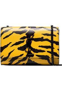 Saint Laurent Bolsa Tiracolo Kate Com Estampa De Zebra - Amarelo