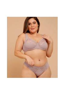 Calcinha Plus Size Feminina Tanga Recorte Dilady