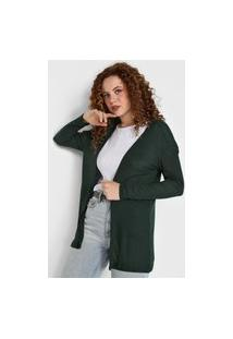 Maxi Cardigan Tricot Forever 21 Liso Verde