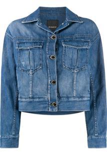 Pinko Jaqueta Jeans Cropped - Azul