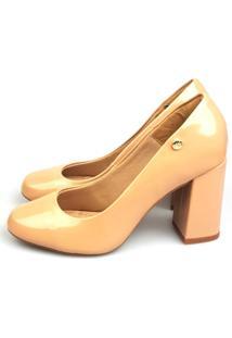 Scarpin Love Shoes Bico Redondo Boneca Verniz Bege