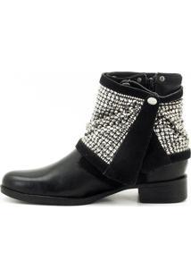 Bota Atron Shoes Em Couro Com Strass Preto