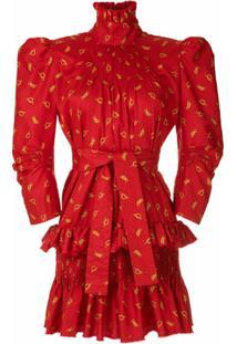 À La Garçonne Vestido Gola Alta Estampado - Vermelho