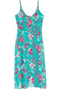 Vestido Verde Mídi Floral Em Viscose