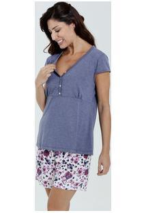 Pijama Feminino Amamentação Floral Marisa