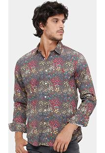 Camisa Reserva Floral Manga Longa Colorida Masculina - Masculino