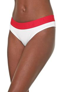 Calcinha Calvin Klein Underwear Tanga Lettering Branca