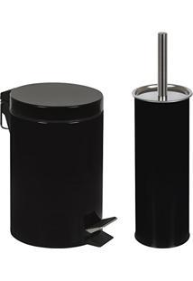 Kit Lixeira 3L Com Pedal E Escova Para Vaso Sanitário Mor - Preto