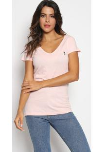 Camiseta Com Bordado - Rosa Claro & Azul Marinhoaleatory