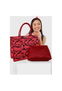 Bolsa Santa Lolla Camuflada Vermelha