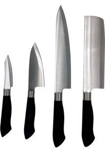 """Conjunto 4 Facas Inox Cozinha Churrasco Carne Sashimi 3"""""""" 4"""""""" 7"""""""" 8"""""""" Thata Esportes"""