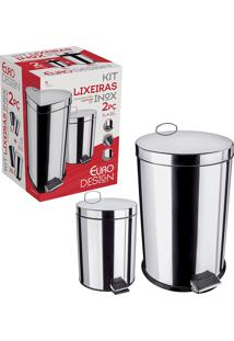 Conjunto De Lixeiras Inox Com Pedal 2 Peças 5 E 20 Litros - Euro Home - Inox