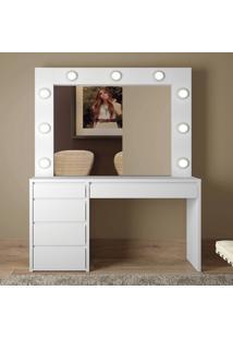 Penteadeira Camarim Com Espelho 5 Gavetas Berlim Mavaular Branco