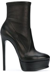 Casadei Ankle Boot Com Meia Pata - Preto