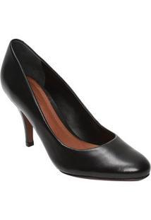 Schutz Sapato Tradicional Em Couro Preto Salto: 8,5Cm