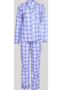 Pijama Feminino Estampado Xadrez Manga Longa Azul