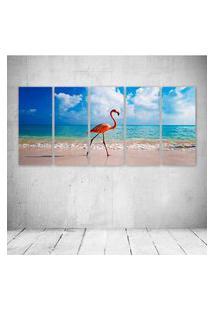 Quadro Decorativo - New Caribbean Flamingos - Composto De 5 Quadros